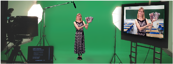 woman being filmed on a green screen